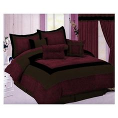 Micro Suede Bedding Comforter Set Queen Burgundy and Brown