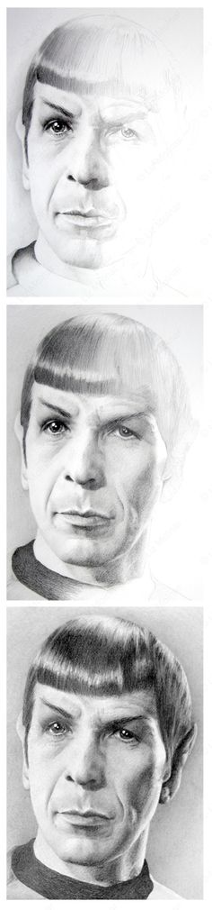 """WIP pencil portrait of Spock by Liz Molnar from Star Trek Original Series. Click on image for high quality prints and more from Society6.    """"He was just plain sexy, without even trying. Sex symbol, savant and occasional psychic: Spock is an icon for all times.""""  - Hazelyn Patterson"""