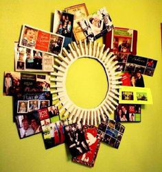 DIY Clothes Pin Frame: Paint clothes pins for added affect. Nice idea for displaying photographs Clothes Pin Frame, Clothes Pin Wreath, Clothes Pegs, Diy Christmas Cards, Christmas Crafts, Xmas Cards, Holiday Cards, Holiday Decor, Cute Crafts