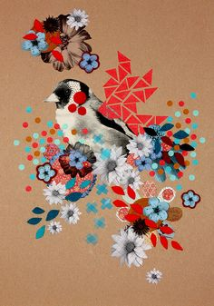 collage, photo, bird, floral, illustration