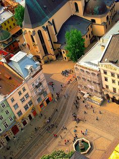 Taken from the Clock tower in city hall in Lviv, Ukraine.