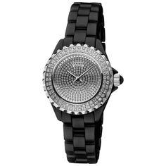 Akribos XXIV Women's Dazzling Black Ceramic Swiss Quartz Watch