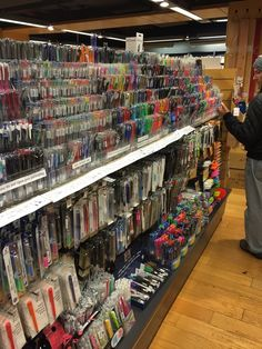 """A shot of Kinokuniya's """"Gel Pen Aisle"""". Never seen anything like this in the states, have you?"""