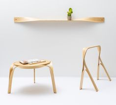 Designer Bar Gantz designed a small, modern capsule collection that was made completely from steam bending strips of wood.