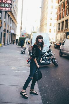 Street style with some glitz. @Natalieoffduty steps our @honestlywtf DIY kits up notch with her own design, highlighting the straps with plenty of @swarovski crystals and gold. Combine with classic black-on-black for a timeless look. It's a go-to fashion rule for a reason. #TevaDIY