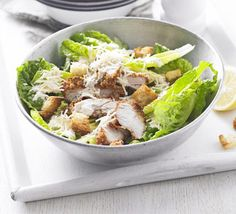 Have chicken left over from supper? Use it up in a crisp salad with creamy Caesar dressing