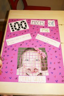 Student's mosaic self portrait. Kid's 100th day of school activity. Ideas for kid's DIY, craft, keepsake or school project. This is from 4 The Luv: {100 PiECeS of Emma}.