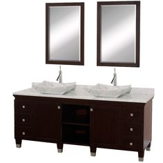 Wyndham Collection Premiere Espresso Vessel Double Sink Bathroom Vanity with Natural Marble Top (Common: 72-in x 22-in; Actual: 72-in x 22-in)