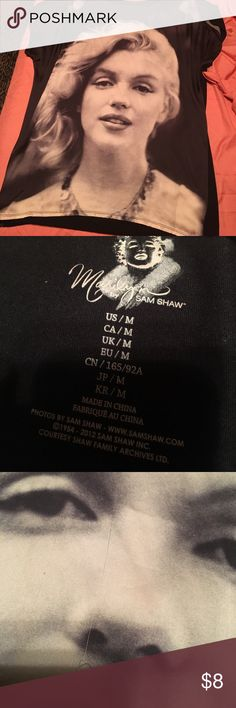 Marilyn Monroe shirt Marlyn Monroe shirt has small snags down the middle as shown in pic 3 not noticeable when on Forever 21 Tops Tees - Short Sleeve