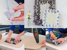 mirror frame from egg cartons Rose Frame, Flower Frame, Diy Paper, Paper Crafts, Diy Crafts, Paper Art, Cardboard Frames, Flower Room Decor, Flower Mirror