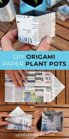 Garden Design Flower Two ways that you can make newspaper plant pots. One method gives you round pots in less than and the other makes square origami plant pots. Use either for starting seeds, or growing small plants in. Container Gardening, Gardening Tips, Vegetable Gardening, Veggie Gardens, Organic Gardening, Paper Pot, Paper Plants, Small Potted Plants, Diy Garden