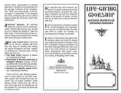 Tri-fold Brochure: Life-giving Worship