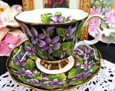 Royal Albert Chintz Provenical series tea cup and saucer PURPLE VIOLETS  teacup