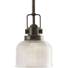 Progress Lighting Archie Collection 1-Light Venetian Bronze Mini Pendant with Clear Prismatic Glass