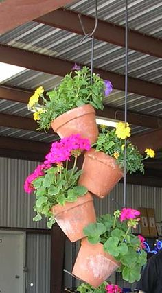Cascade of hanging terracotta pots