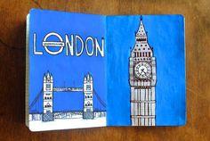 Blue Illustration: London {The Sketchbook Project}