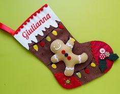 Bota de Natal personalizada em feltro.