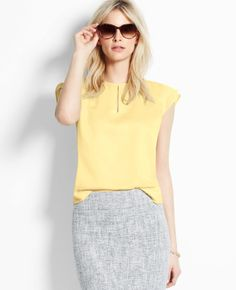Ann Taylor Flutter Sleeve Keyhole Top in Yellow (Sweet Lemon) - Lyst