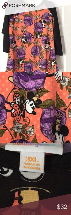 Lularoe Disney Randy shirt 3xl NWOT tags Cute baseball style shirt with Minnie Mouse and flowers; NWT -Tags are included but not attached - I tried the shirt on and it did not fit. Shirt runs small. I bought this because I liked the print and thought I could wear it but it was not my style. I am not a LLR consultant - just destashing my closet. Please feel free to ask questions. LuLaRoe Tops Tees - Long Sleeve