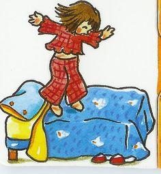 op het bed