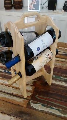 Suporte para vinho até 6 garrafas pinho natural.