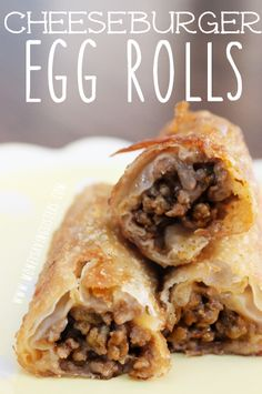 Pillsbury Crescent Roll Recipes Cheeseburger Eggrolls and Pillsbury Crescent Rolls Recipes - Crescent Roll Ideas… Egg Roll Recipes, Beef Recipes, Great Recipes, Cooking Recipes, Favorite Recipes, Recipes Using Egg Roll Wrappers, Beef Meals, Game Recipes, Chicken Recipes