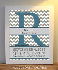 Baby room wall art, monogram nursery art, birth statistics wall art, chevron nursery decor, baby name wall art by PicabooArtStudio, $9.99