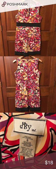 Summery Bright Floral Sun Dress black/white/orange/red/pink/yellow colors, hits just above the knee, size 8, great condition, smoke free home dBy Ltd. Dresses