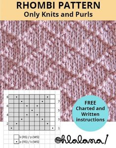 Only Knits and purls! FREE Written and charted instructions. Oh La Lana! Knitting TechniquesCrochet For BeginnersCrochet PatternsCrochet Amigurumi Beginner Knitting Patterns, Knitting Stiches, Knitting Blogs, Knitting Charts, Easy Knitting, Knitting For Beginners, Loom Knitting, Knitting Needles, Knit Stitches