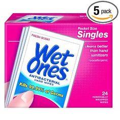 Wet Ones Antibacterial Hand Wipes Singles, 24-Count (Pack of 5)