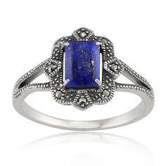 Gemondo - Bague Style Art Déco Lapis Lazuli 0,90ct et Marcassite 8,8pt - Argent fin, Argent 925, 49.5, Lapis Lazuli