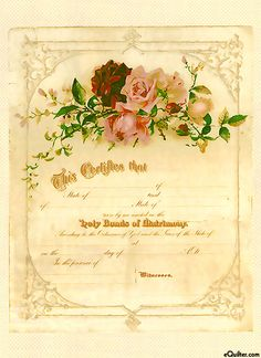 Vintage postcard with roses from Shariji. Discussion on LiveInternet - Russian Service Online Diaries Wedding Certificate, Marriage Certificate, Vintage Ephemera, Vintage Paper, Vintage Ads, Vintage Style, Wedding Prep, Wedding Planning, Wedding Ideas