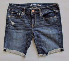 """American Eagle Denim Bermuda Shorts 8 Dark Distressed Stretch jean Cuffed 8.5"""" #AmericanEagleOutfitters #Denim"""
