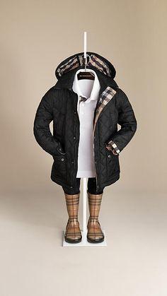 Diamond Quilted Jacket - Burberry - Perfect for the rain. Baby Boy Fashion, Toddler Fashion, Kids Fashion, Winter Fashion, Baby Boy Outfits, Kids Outfits, Boys Rain Jacket, Designer Childrenswear, Burberry Kids