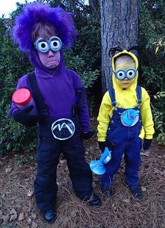 Purple Minion and Yellow Minion Halloween Costumes
