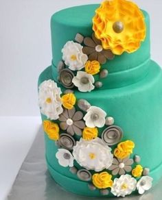 Blue and coral wedding cake....swap the blue for coral and it will be perfect!!