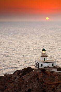 Akrotiri Lighthouse at Sundown in Santorini, Greece