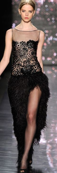 black lace and feather gown