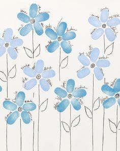 Blumenwiese - Sie wünschen sich ein etwas anderes Gästebuch? Bei dieser Idee bilden die Fingerabdrücke Ihrer Gäste nach und nach eine herrliche Blumenwiese.