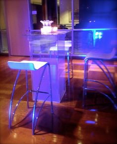 Acrylic high top with white leather bar stools