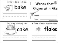 Word Families - EnchantedLearning.com - Comprehensive lists of word families plus printables