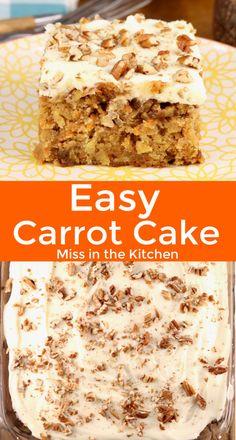 Homemade Carrot Cake, Easy Carrot Cake, Homemade Cakes, Carrot Cakes, Fresh Carrot Cake Recipe, Icing For Carrot Cake, Easy Cake Recipes, Sweet Recipes, Dessert Recipes