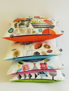 DIY magazine cut outs, collage cushions by Ellen Giggenbach