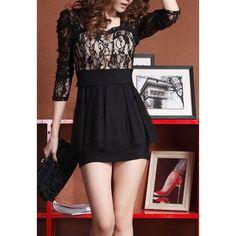 Long Sleeves Sweetheart Neckline Beam Waist Packet Buttock Ruffles Hem Slimming Women's Dress, APRICOT, ONE SIZE in Lace Dresses | DressLily.com