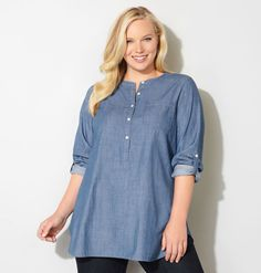 Shop trendy denim tops in long, tunic- length like the plus size Denim Popover Tunic available online at avenue.com. Avenue Store