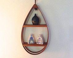 Vintage Danish Modern Bentwood Shelf Hanging Teardrop Mid Century Modern