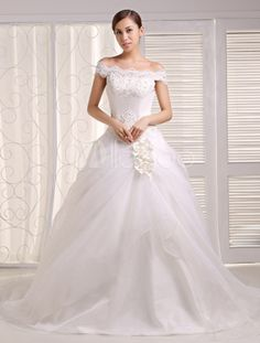 Ivory A-line Strapless Bateau Neck Sequin Court Train Bridal Wedding Gown