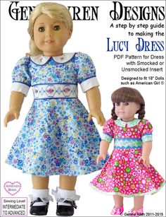Pixie Faire Genniewren Designs Lucy Dress Doll Clothes Pattern for 18 inch American Girl Dolls - PDF Girl Doll Clothes, Doll Clothes Patterns, Doll Patterns, Clothing Patterns, Girl Dolls, Dress Patterns, Ag Dolls, Sewing Patterns, Barbie Clothes