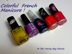 This Manicure Monday brings to you a colorful french manicure.                 My base is BYS 'French White'. For my colorful tips, I have used the following nail polishes (from L-R, as in the pic) :    BYS 'The Right Bright' - Previously featured HERE and HERE.  Chi Chi 'Capital Him' - Previously featured