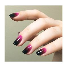 Ombre purple and black nails Purple Ombre Nails, Pink Nails, Gelish Nails, Gradient Nails, Glitter French Manicure, Glitter Nails, Dipped Nails, Nagel Gel, Perfect Nails